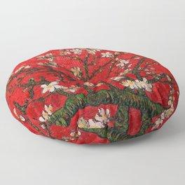 Almond Blossoms Red Vincent Van Gogh Floor Pillow
