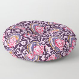 African Wax Print Flowers Purple and Pink Floor Pillow