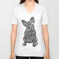frenchie V-neck T-shirts featuring Polynesian  Frenchie by Huebucket