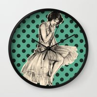 pinup Wall Clocks featuring Pinup by Jemma Cakebread
