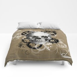 Skull With Gears and Floral Ornaments Comforters