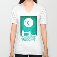 peter pan V-neck T-shirts featuring Peter Pan in London by Chien-Yu Peng