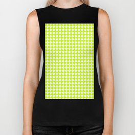 Small Diamonds - White and Fluorescent Yellow Biker Tank