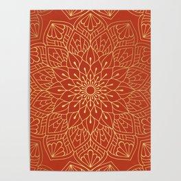Gold Mandala Pattern On Red Poster