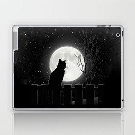 Silent Night Cat and full moon Laptop & iPad Skin