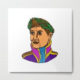 Emperor Napoleon Bonaparte Mono Line Metal Print