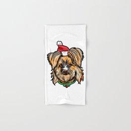 Yorkshire Terrier Dog Christmas Hat Present Hand & Bath Towel