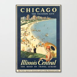 Chicago, The Vacation City - Vintage Poster Canvas Print