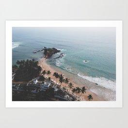 Aerial Mirissa Beach, Sri Lanka 2 Art Print
