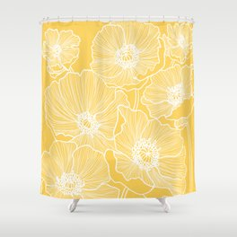 Sunshine Yellow Poppies Shower Curtain