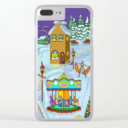 Christmas Fairground Clear iPhone Case