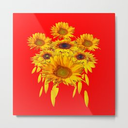 Decorative Red Sunflowers Art Abstract Metal Print