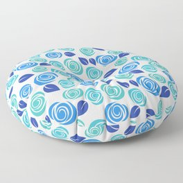 Pretty Aqua Blue and Teal Floral Pattern Floor Pillow