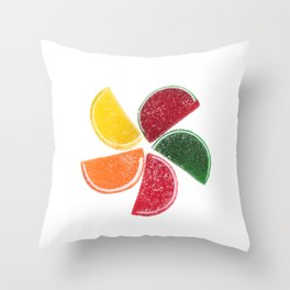 Candy Fruit Slices Throw Pillow