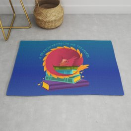 A Dragon Protects His Treasure blue version Rug