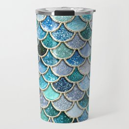 Multicolor Aqua Mermaid Scales - Beautiful Abstract Glitter Pattern Travel Mug