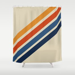 Rainbow 70s 60s Stripe Colorful Rainbow Tan Retro Vintage Shower Curtain