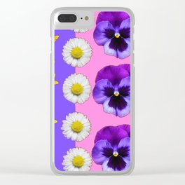 PINK-LILAC & PURPLE PANSY DAISY SPRING FLOWERS Clear iPhone Case