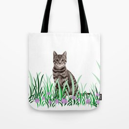 Tiger Cat green Grass with flower Tote Bag