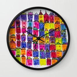 watercolor fantasy houses Wall Clock