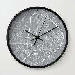Mobile Map, Alabama USA - Pewter Wall Clock