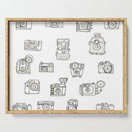 Cameras: Black - pop art illustration Serving Tray