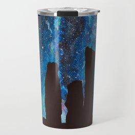 Outlander Craigh Na Dun Standing Stones Watercolor Painting with milky way galaxy Travel Mug