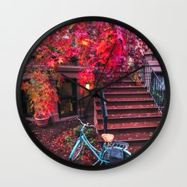 New York City Brooklyn Bicycle and Autumn Foliage Wall Clock