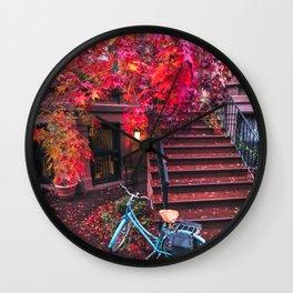 New York City Brooklyn Bicycle and Autumn Foliage Wall Clock