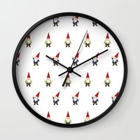 gnome Wall Clocks featuring Gnome Love by Ink Tree Press by Erin Rippy