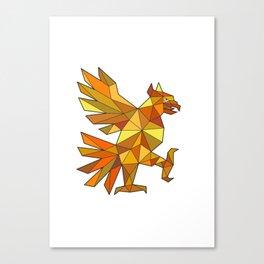 Cuauhtli Glifo Eagle Fighting Stance Low Polygon Canvas Print