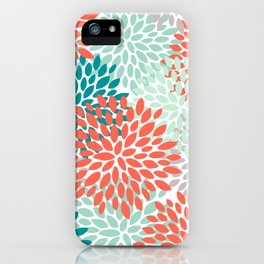 Floral Pattern, Living Coral, Teal and Mint Green iPhone Case