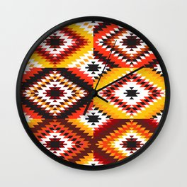 Colorful patchwork mosaic, oriental kilim rug Wall Clock
