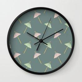 Cocktail Umbrella Pattern Wall Clock