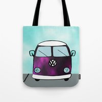 van Tote Bags featuring Hippie Van  by The Bohemian Bubble