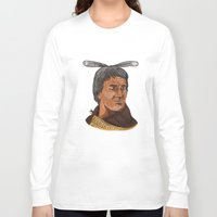 maori Long Sleeve T-shirts featuring Maori Chief Warrior Bust Watercolor by patrimonio