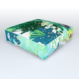 Twice Last Wednesday: Abstract Jungle Botanical Painting Outdoor Floor Cushion