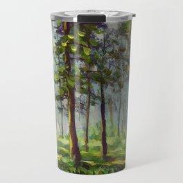 Original acrylic painting Walk in the sunny forest. Colorful illustration. Artwork fine art. Travel Mug