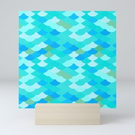 pattern scales, wave abstract simple Nature background mermaid Mini Art Print