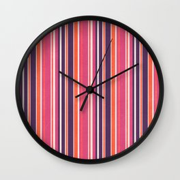 Happy Vertical LInes Pink Version Wall Clock