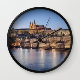 Prague Castle and Charles Bridge Wall Clock