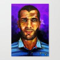 zidane Canvas Prints featuring Zinedine Zidane by Green Diablo