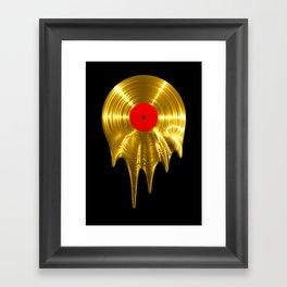Melting vinyl GOLD / 3D render of gold vinyl record melting Framed Art Print