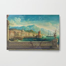 Capriccio of a Mediterranean Seaport Landscape No. 1 by Rex Whistler Metal Print