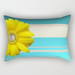 Yellow Daisy Flower Blue & Beige Stripes Rectangular Pillow