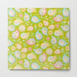 Hedgehog Paisley_Colors and Green Metal Print