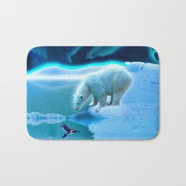 The Encounter - A Polar Bear & Penguin Fantasy Bath Mat