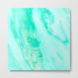 Shimmery Sea Green Turquoise Marble Metallic Metal Print
