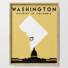 WASHINGTON DC LOVE CITY SILHOUETTE SKYLINE ART Serving Tray