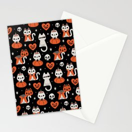 Halloween Kitties (Black) Stationery Cards